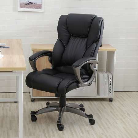 Black Leather High Back Office Chair