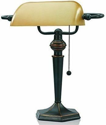 V-LIGHT Traditional Style CFL Banker's Desk Lamp with Amber Glass Shade